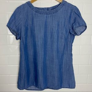 BANANA REPUBLIC Blue Denim Drapey Top
